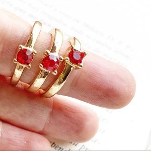 RUBY RED CRYSTAL GOLD MIDI RING SET